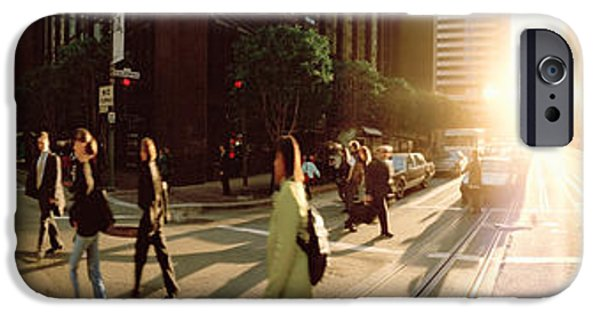 Three-quarter Length iPhone Cases - Group Of People Walking On The Street iPhone Case by Panoramic Images