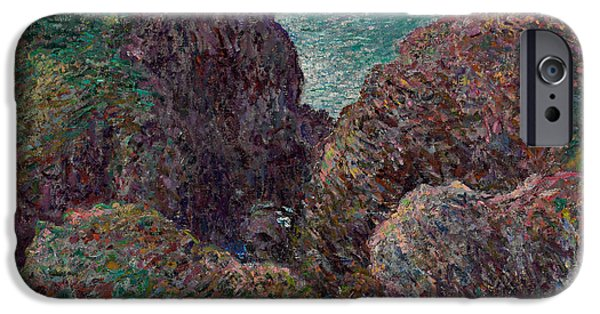 Reproduction iPhone Cases - Group of Rocks at Port Goulphar iPhone Case by Claude Monet