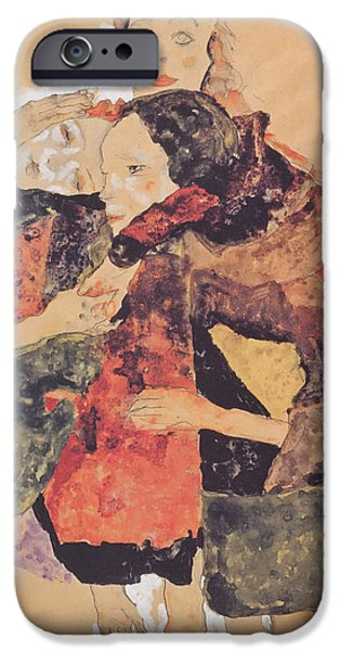 Women Together Paintings iPhone Cases - Group of Women iPhone Case by Egon Schiele