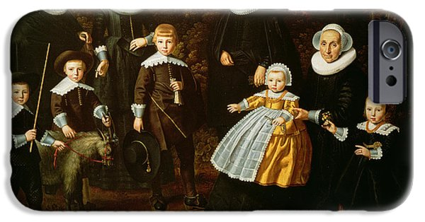 Mascots iPhone Cases - Group Portrait Of Three Generations Of A Family In The Grounds Of A Country House Oil On Canvas iPhone Case by Dirck Santvoort