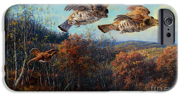 Steer Paintings iPhone Cases - Grouse in Flight iPhone Case by Celestial Images