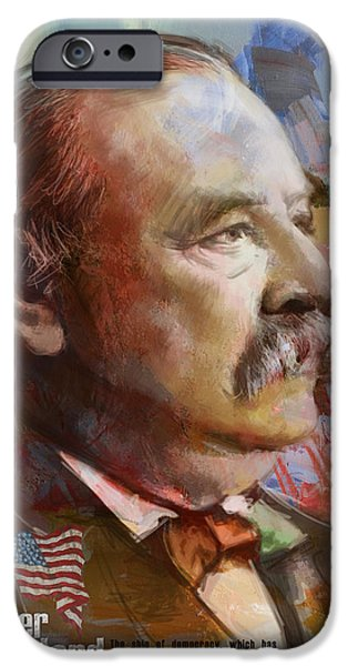 Thomas Jefferson Paintings iPhone Cases - Grover Cleveland iPhone Case by Corporate Art Task Force