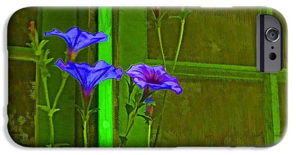 Cabin Window iPhone Cases - Growing On The Old Cabin Sill iPhone Case by Nancy Marie Ricketts