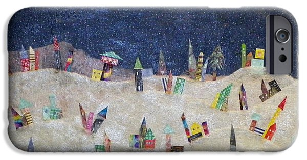Snowy Night Mixed Media iPhone Cases - Gruberville iPhone Case by Linnie Greenberg