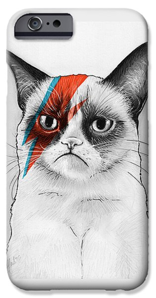 Mammals Drawings iPhone Cases - Grumpy Cat as David Bowie iPhone Case by Olga Shvartsur