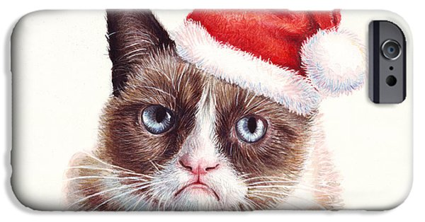 Santa iPhone Cases - Grumpy Cat as Santa iPhone Case by Olga Shvartsur