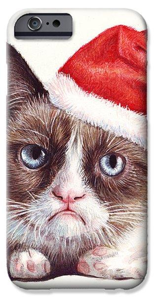 Grumpy Cat as Santa iPhone Case by Olga Shvartsur