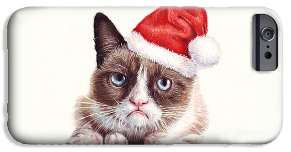 Christmas Mixed Media iPhone Cases - Grumpy Cat as Santa iPhone Case by Olga Shvartsur