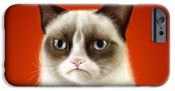 Pets Art iPhone Cases - Grumpy Cat iPhone Case by Olga Shvartsur