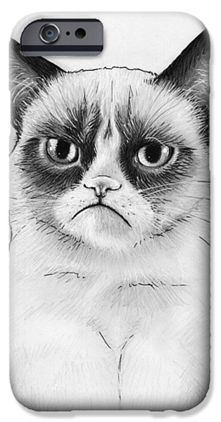 Cat Prints iPhone Cases - Grumpy Cat Portrait iPhone Case by Olga Shvartsur