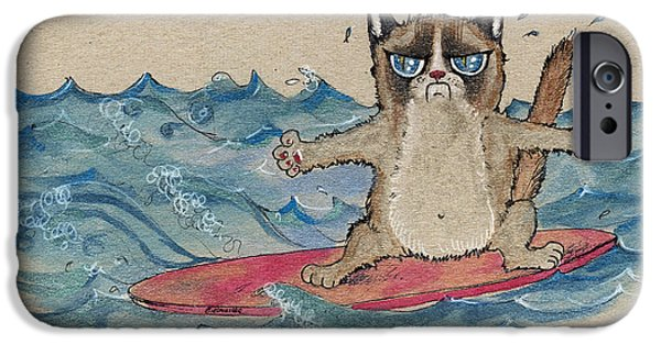 Board Drawings iPhone Cases - Grumpy Cat Surfing iPhone Case by Angel  Tarantella