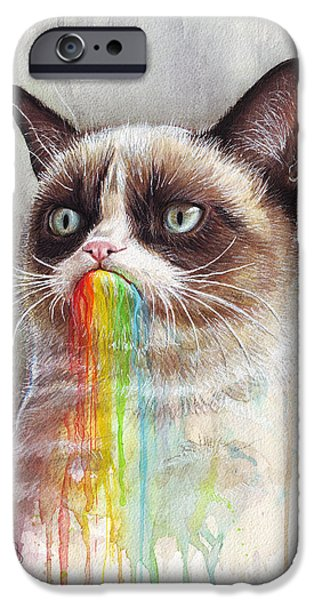 Internet iPhone Cases - Grumpy Cat Tastes the Rainbow iPhone Case by Olga Shvartsur