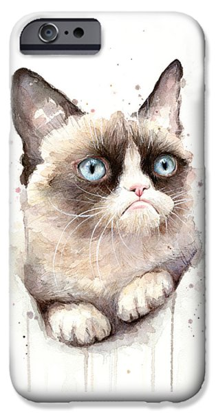 Cat Prints iPhone Cases - Grumpy Cat Watercolor iPhone Case by Olga Shvartsur