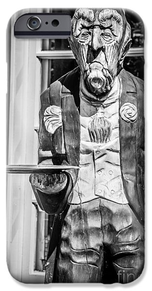 Waiter Photographs iPhone Cases - Grumpy Old Waiter Carving Key West - Black and White iPhone Case by Ian Monk