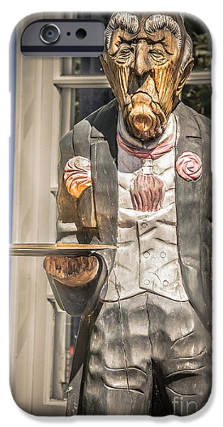 Waiter Photographs iPhone Cases - Grumpy Old Waiter Carving Key West - HDR Style iPhone Case by Ian Monk