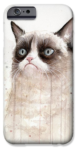 Painted Mixed Media iPhone Cases - Grumpy Watercolor Cat iPhone Case by Olga Shvartsur