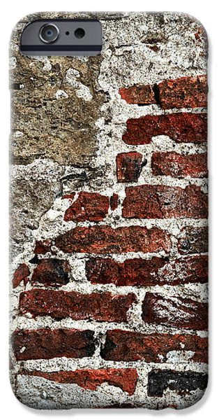 Chip Photographs iPhone Cases - Grunge brick wall iPhone Case by Elena Elisseeva