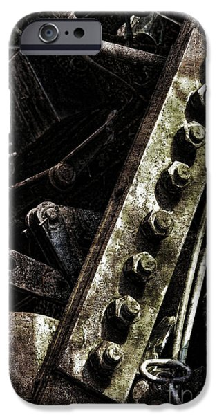 Industrial Photographs iPhone Cases - Grunge Industrial Machinery iPhone Case by Olivier Le Queinec
