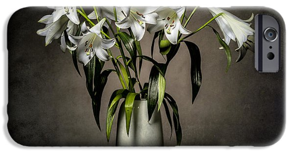 Close Up Floral iPhone Cases - Grunge Lilies iPhone Case by Erik Brede