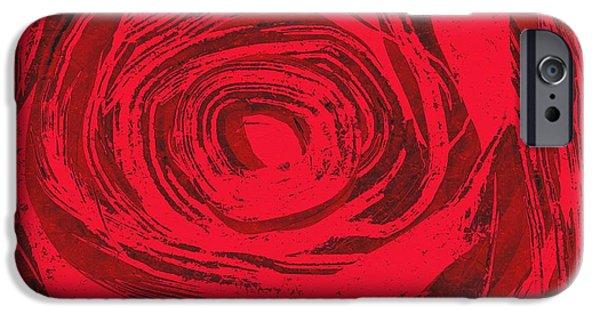 Floral Digital Art Digital Art iPhone Cases - Grunge rose iPhone Case by Frances Lewis
