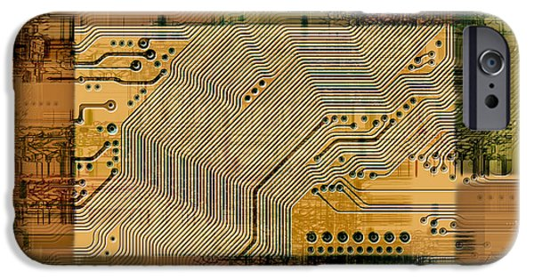 Electrical Component iPhone Cases - Grunge Technology Background iPhone Case by Michal Boubin