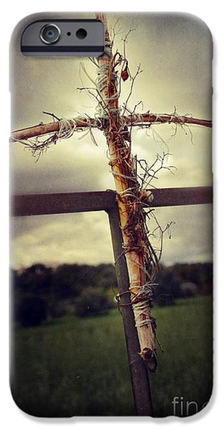 Dirty iPhone Cases - Grungy Cross iPhone Case by Carlos Caetano