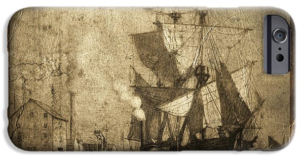Torn iPhone Cases - Grungy Historic Seaport Schooner iPhone Case by John Stephens