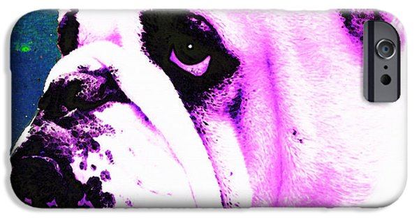 Bulls Mixed Media iPhone Cases - Grunt - Bulldog Pop Art By Sharon Cummings iPhone Case by Sharon Cummings