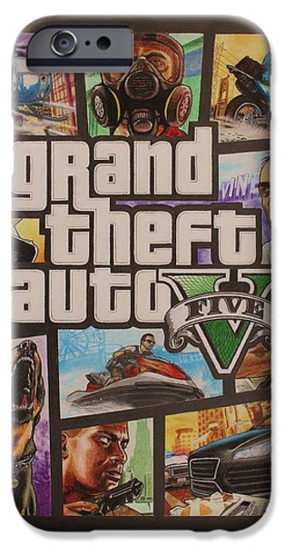 Police Art Drawings iPhone Cases - GTA V Box Art Cover Colored Drawing iPhone Case by Nikolai Jonasson