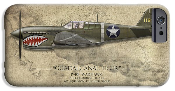 War iPhone Cases - Guadalcanal Tiger P-40 Warhawk - Map Background iPhone Case by Craig Tinder