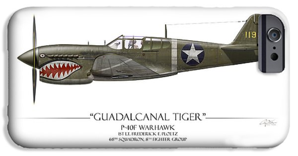 Warhawk iPhone Cases - Guadalcanal Tiger P-40 Warhawk - White Background iPhone Case by Craig Tinder