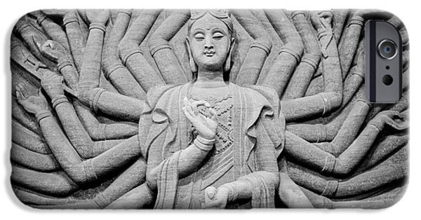 Bodhisattva iPhone Cases - Guanyin Bodhisattva in Black and White iPhone Case by Dean Harte