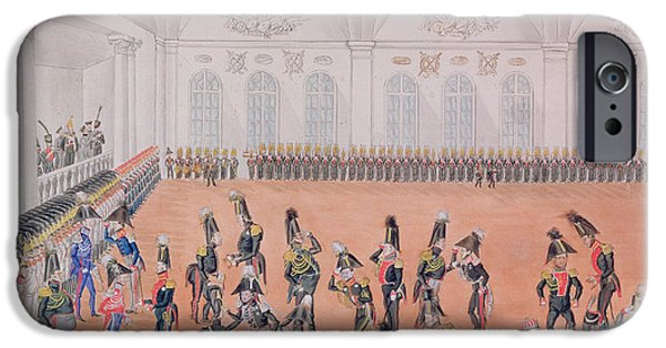 Uniform iPhone Cases - Guard Parade, 1820s Wc On Paper iPhone Case by Russian School