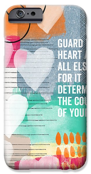Scripture iPhone Cases - Guard Your Heart- contemporary scripture art iPhone Case by Linda Woods