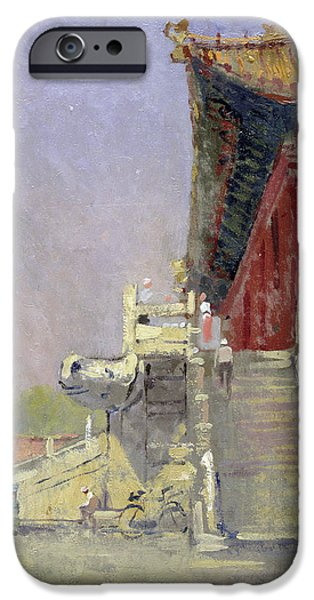 Beijing iPhone Cases - Guarded Steps, 1998 Oil On Canvas iPhone Case by Bob Brown