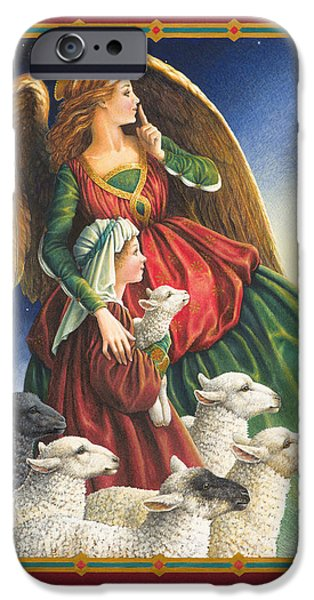 Nativity Paintings iPhone Cases - Guardian Angel iPhone Case by Lynn Bywaters
