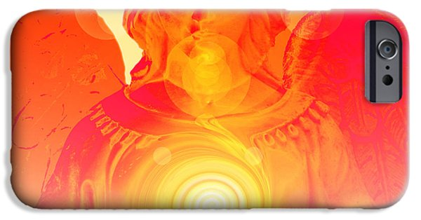 Seraphim Angel Digital Art iPhone Cases - Guardian Angel No. 03 iPhone Case by Ramon Labusch