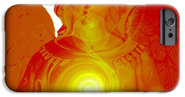 Seraphim Angel Digital Art iPhone Cases - Guardian Angel No. 04 iPhone Case by Ramon Labusch