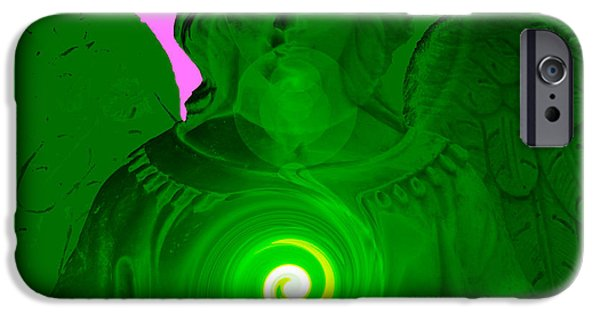 Seraphim Angel Digital Art iPhone Cases - Guardian Angel No. 05 iPhone Case by Ramon Labusch