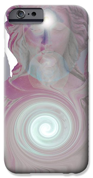 Seraphim Angel Digital Art iPhone Cases - Guardian Angel No. 07 iPhone Case by Ramon Labusch