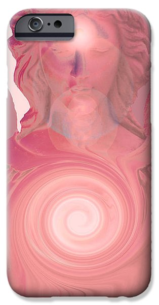 Seraphim Angel Digital Art iPhone Cases - Guardian Angel No. 08 iPhone Case by Ramon Labusch