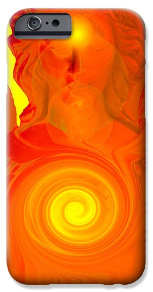 Seraphim Angel Digital Art iPhone Cases - Guardian Angel No. 09 iPhone Case by Ramon Labusch