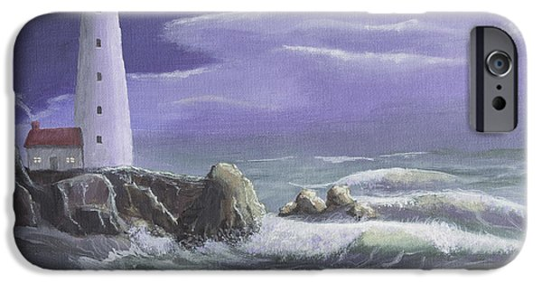 Night Angel Paintings iPhone Cases - Guardian Angel of the West Coast iPhone Case by Jerry McElroy