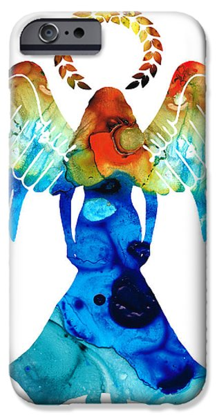 Religious Mixed Media iPhone Cases - Guardian Angel - Spiritual Art Painting iPhone Case by Sharon Cummings