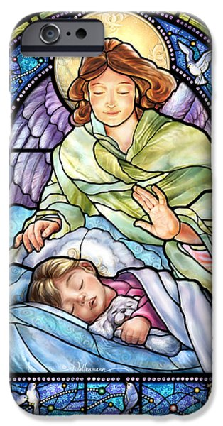 Night Angel iPhone Cases - Guardian Angel With Sleeping Girl iPhone Case by Randy Wollenmann