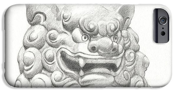 Buddhism Drawings iPhone Cases - Guardian Lion iPhone Case by Kazumi Whitemoon