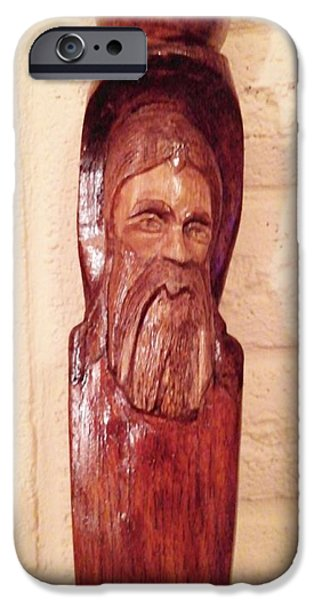 Throw Sculptures iPhone Cases - Guardian Walking Stick iPhone Case by Michael Pasko