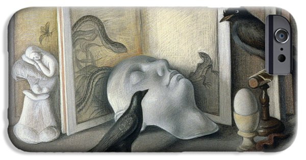 Slumber iPhone Cases - Guardians Of Sleep Chalk, Conte And Pastel On Paper iPhone Case by Tomar Levine