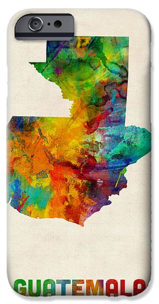Maps - iPhone Cases - Guatemala Watercolor Map iPhone Case by Michael Tompsett