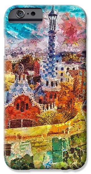 Mo T iPhone Cases - Guell Park iPhone Case by Mo T